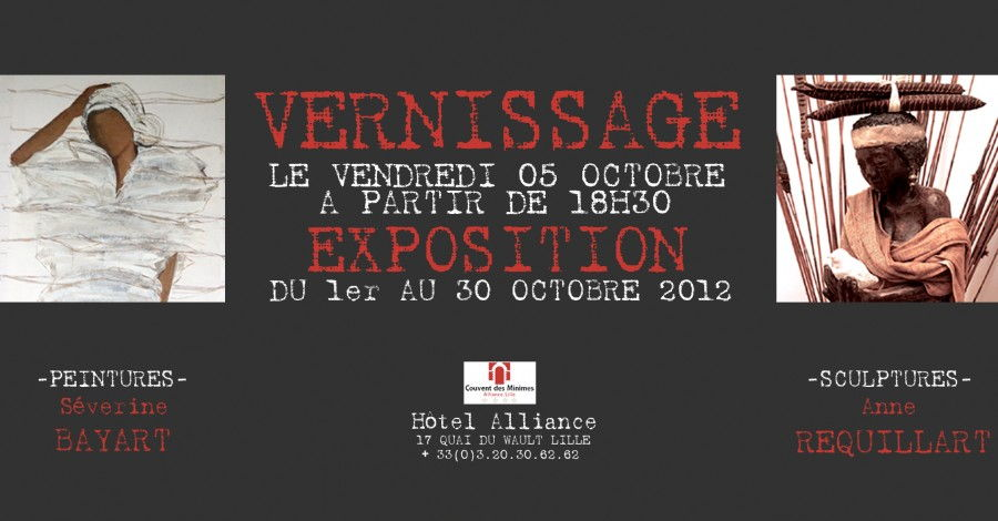 Carton d'invitation pour l'exposition de Anne Requillart à Hotel Alliance Lille